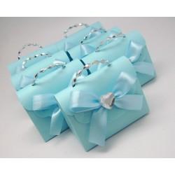 Boite à dragées sac bleu par 10