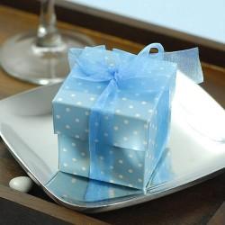 Boite à dragées carrée bleu à pois
