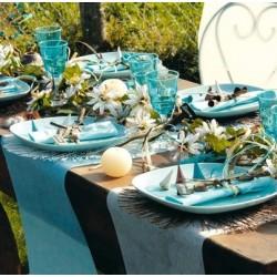 Chemin de table intissé turquoise