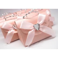 Boite à dragées sac rose pale par 10