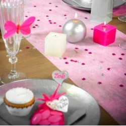 Chemin de table intissé rose 10 m