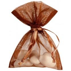 Sachet à dragées organdi chocolat