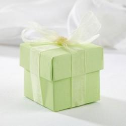 Boite à dragées carrée vert pale