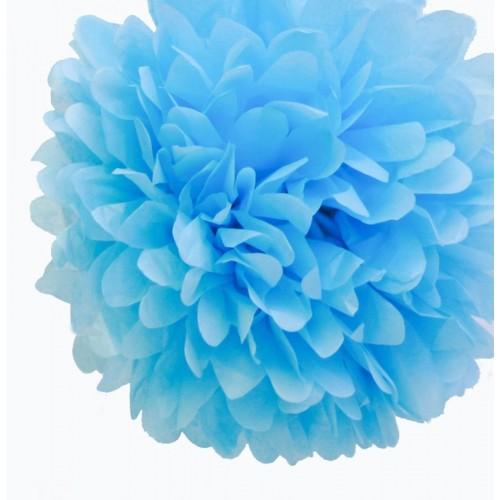 Pompon en papier bleu