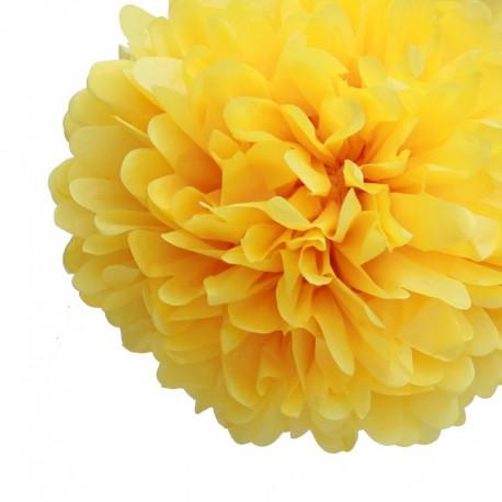 Pompon en papier jaune