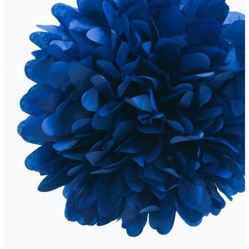 Pompon en papier bleu marine