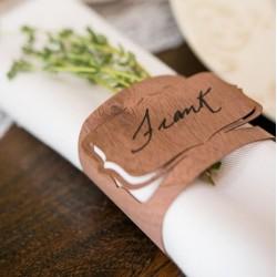Rond de serviette et marque place bois par 3