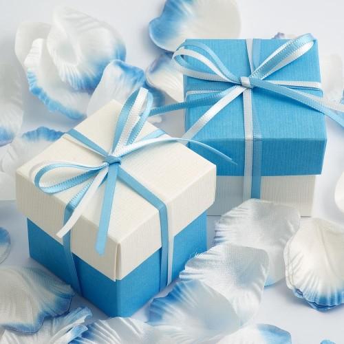 Boite à dragées blanc et bleu