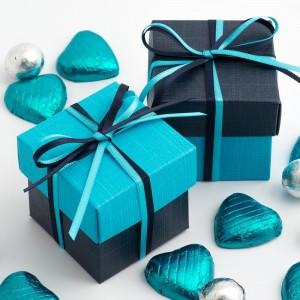 Boite à dragées bleu marine et turquoise par 10