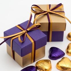 Boite à dragées or et violet (par 10)