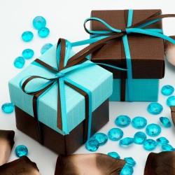 Boite à dragées chocolat et bleu ( par 10)