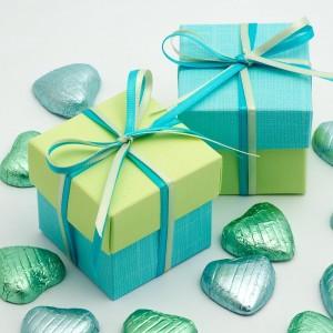 Boite à dragées bleu et vert anis par 10