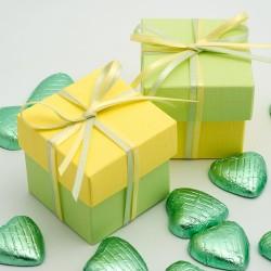 Boite à dragées jaune et vert anis ( par 10)