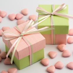 Boite à dragées rose pale et vert anis ( par 10)