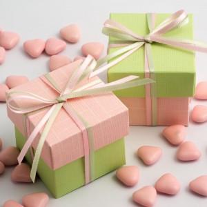 Boite à dragées rose pale et vert amande par 10