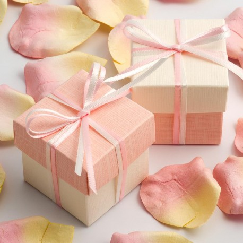 Boite à dragées rose pale et blanc ( par 10)