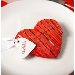 Marque place coeur avec ruban par 10