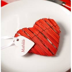 Marque place coeur avec ruban