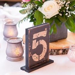 Numéro de table en bois par 6