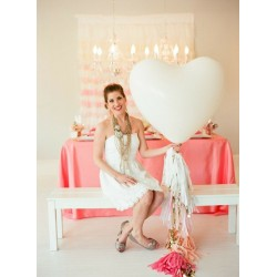 Ballon géant mariage coeur blanc