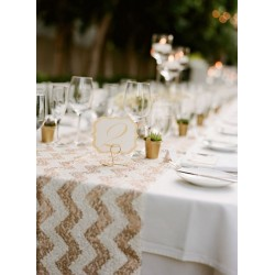 Chemin de table chevron sequin argent