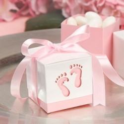 Boite à dragées petits pieds rose