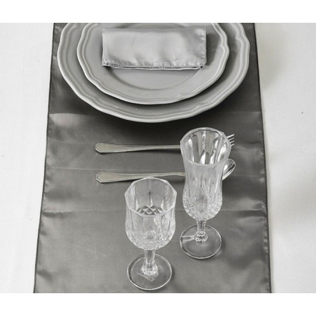 Chemin de table satin gris