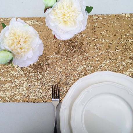 chemin de table mariage sequin or - les couleurs du mariage