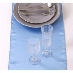 Chemin de table satin bleu