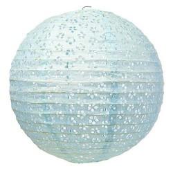 Lanterne en papier dentelle bleu pastel