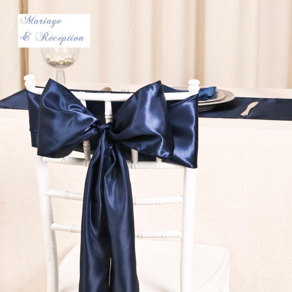 Noeud De Chaise Mariage Satin Bleu Marine
