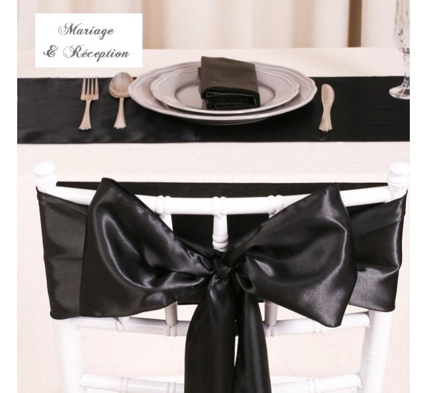 Noeud de chaise mariage satin noir les couleurs du - Noeud de chaise en satin ...