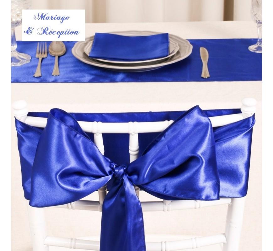 Noeud de chaise satin bleu roi les couleurs du mariage - Noeud de chaise en satin ...