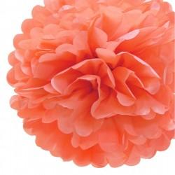 Pompon en papier corail