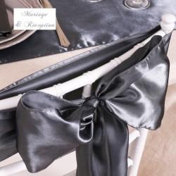 Noeud de chaise mariage satin gris anthracite