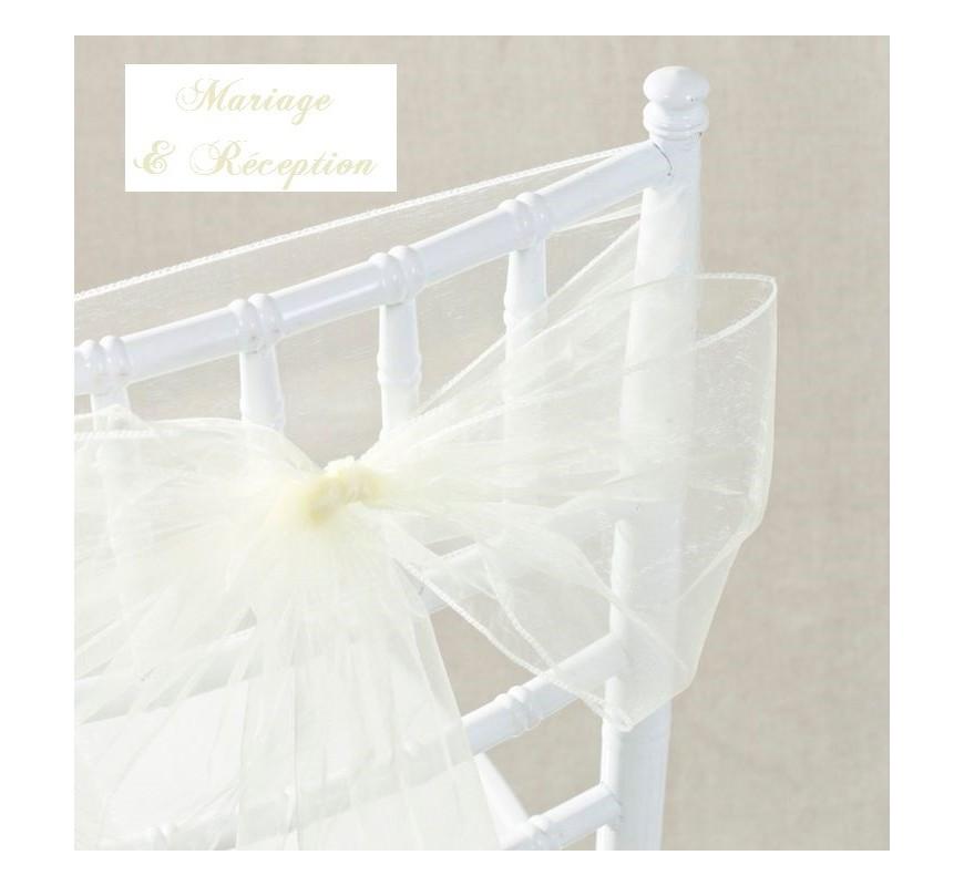 Noeud de chaise mariage organza ivoire par 10 les - Noeuds de chaise mariage ...