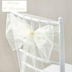 Noeud de chaise mariage organza ivoire par 10