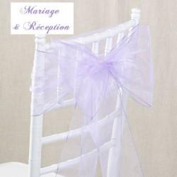 Noeud de chaise mariage organza lavande