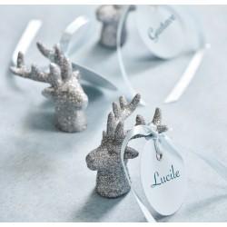 Figurine rennes du Père Noel or par 2