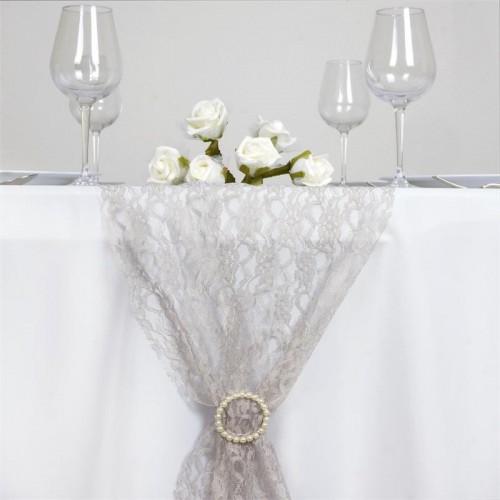 Chemin de table en dentelle gris les couleurs du mariage mariage et r ception - Chemin de table gris perle ...