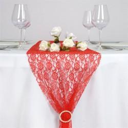 Chemin de table en dentelle rouge