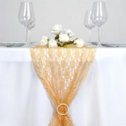 Chemin de table en dentelle or