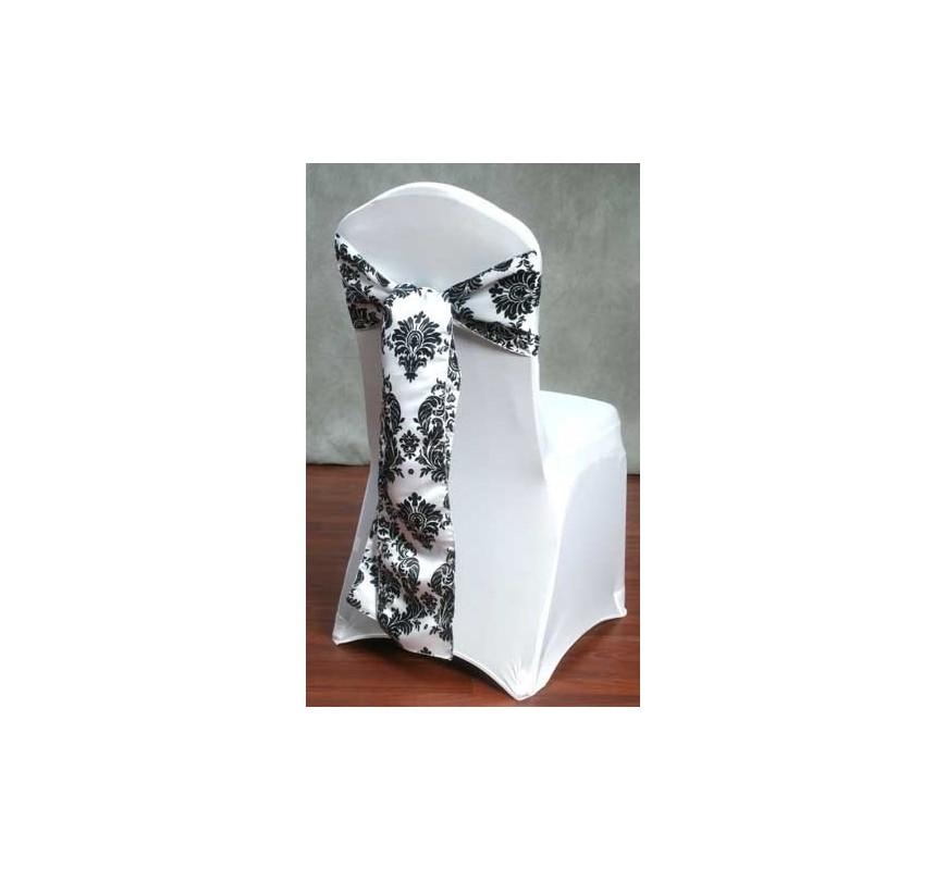 Noeud de chaise mariage baroque noir et blanc for Table chaise noir et blanc