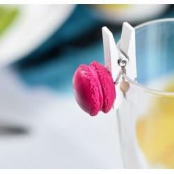 Pince marque place macaron fuchsia par 4