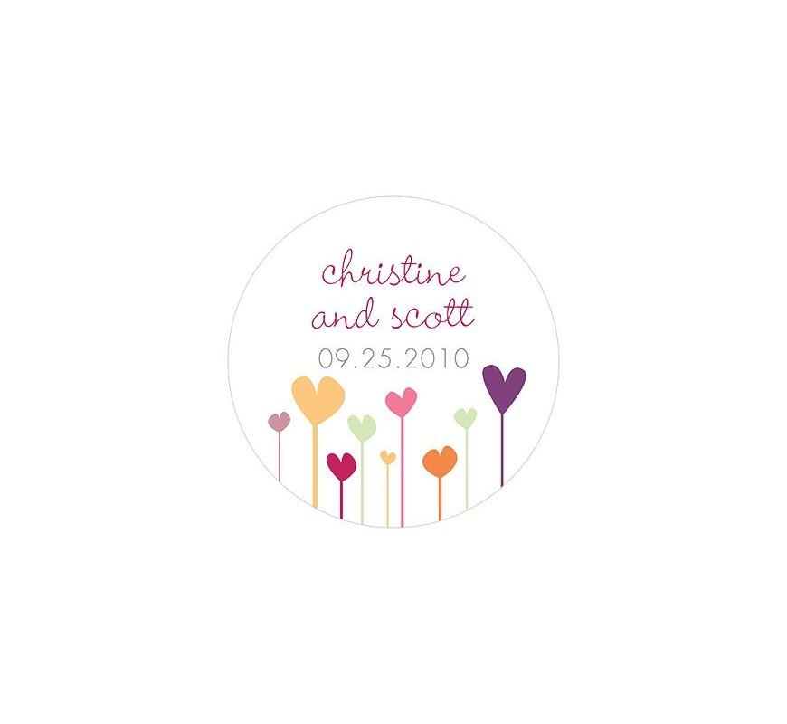 sticker personnalis coeur flower les couleurs du mariage mariage et r ception. Black Bedroom Furniture Sets. Home Design Ideas