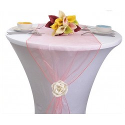 Chemin de table organza corail
