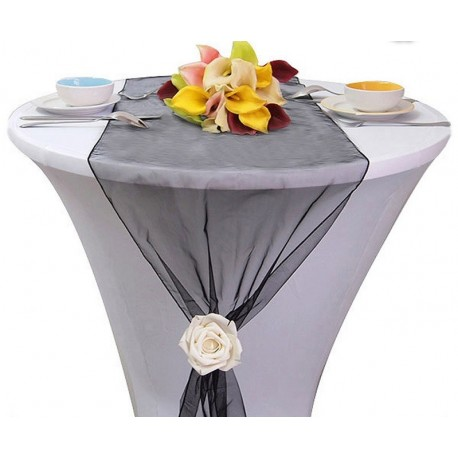 Chemin de table organza noir