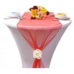 Chemin de table organza rouge