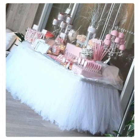 Jupe de table en tulle blanc