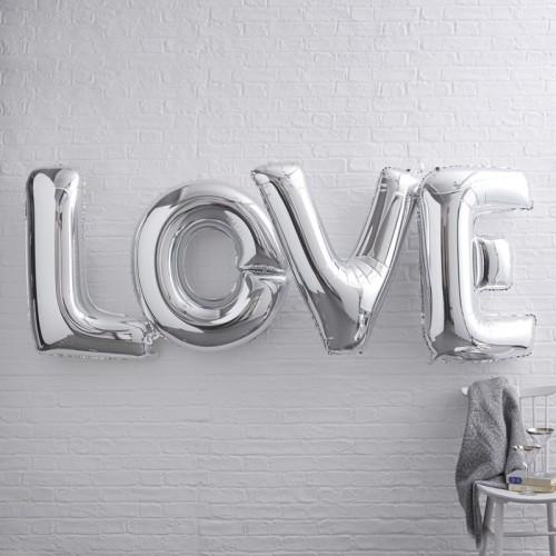 Ballons géants LOVE argent